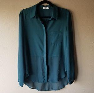 Lush | Dark Green Sheer Panel Button Down Blouse